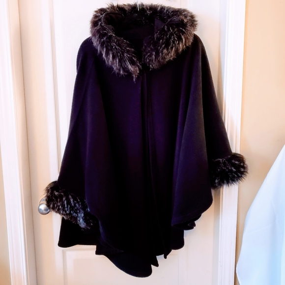 Gorgeous one of a kind hooded cape with faux fur
